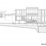 South elevation showing garage, catwalk, and earth retaining walls