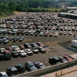 Overhead view of redesigned parking lot