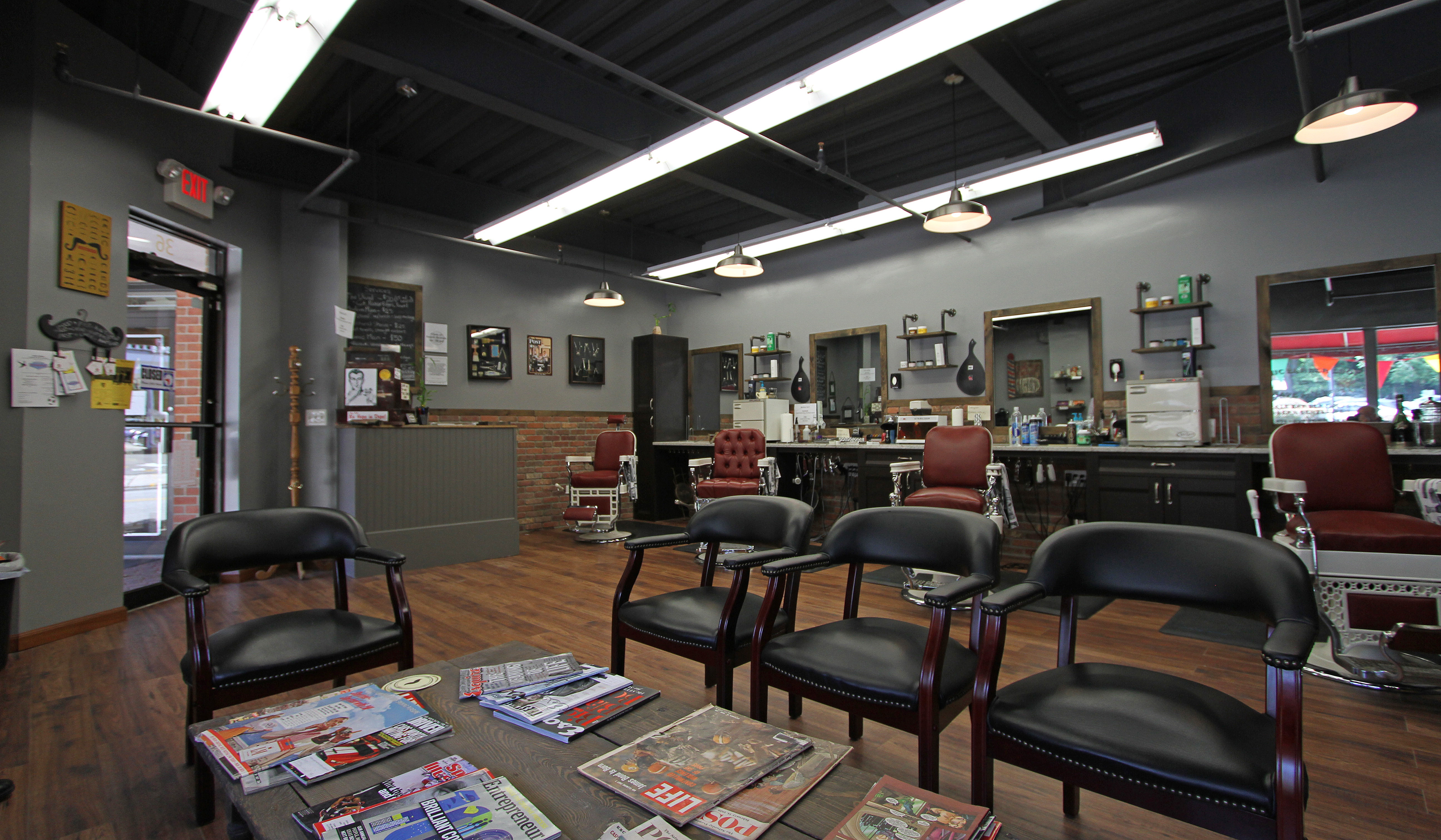 Barber Shop In The Area : ... area line of the carefully restored barber chairs the seating area is